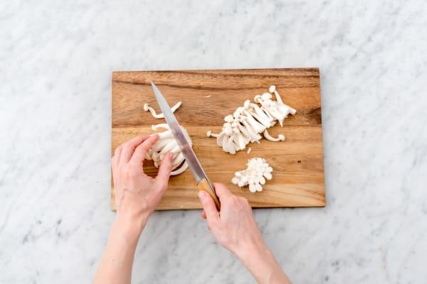 Cut the enoki mushrooms