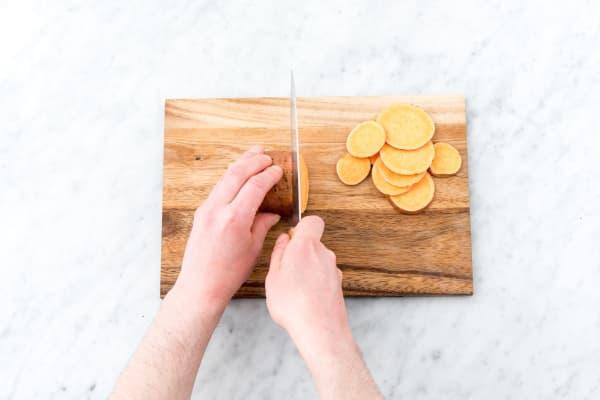 Bake the sweet potato crisps