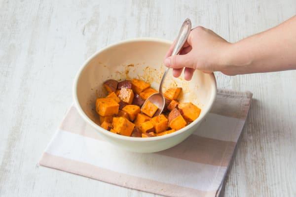 Season the sweet potatoes