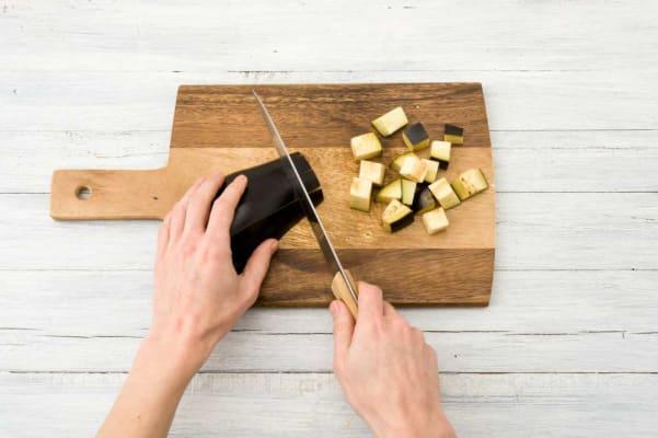 Preheat oven and roast eggplant