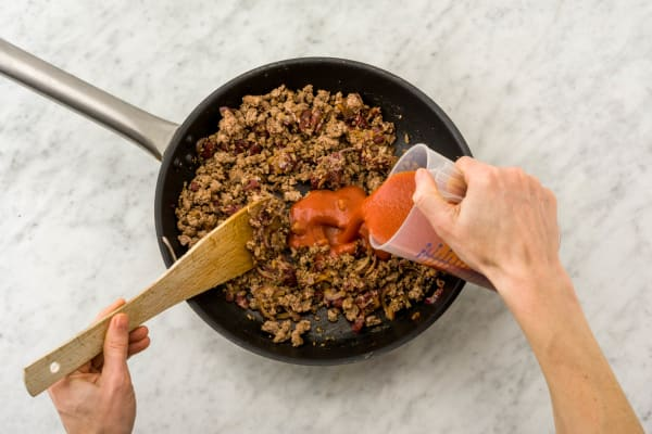 Mix in the tomato paste