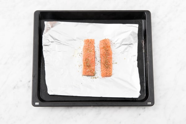 Rub the spice mix on the salmon