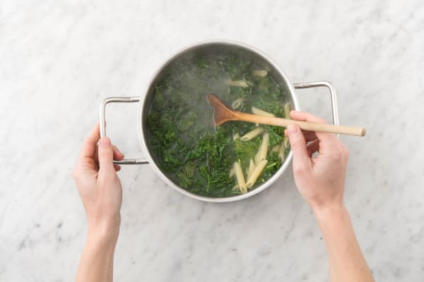 Boil pasta and kale