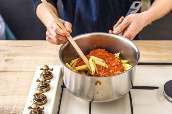 Mix the Pasta and Sauce