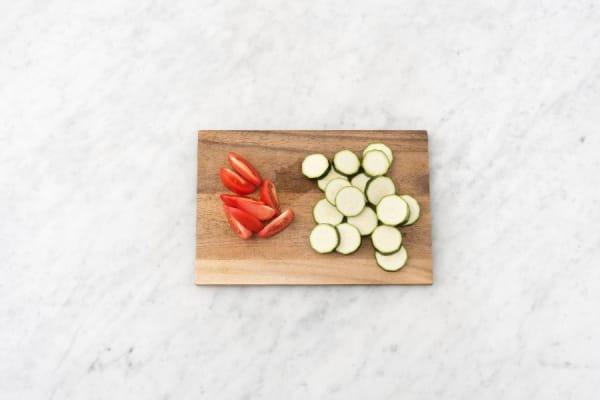 Preheat and Prep Veggies