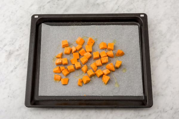 Preheat Oven and Roast Sweet Potatoes