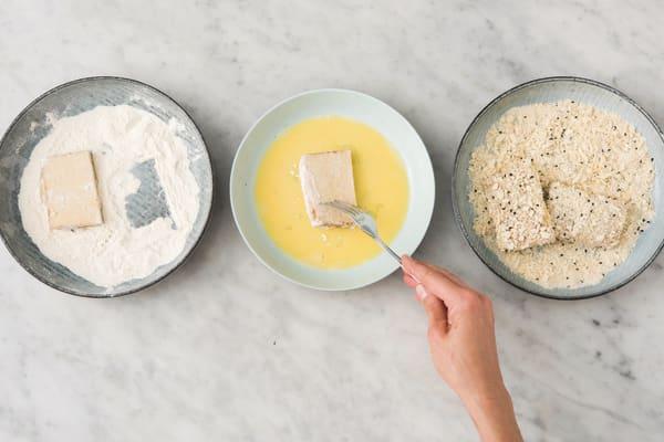 Crumb the sesame tofu