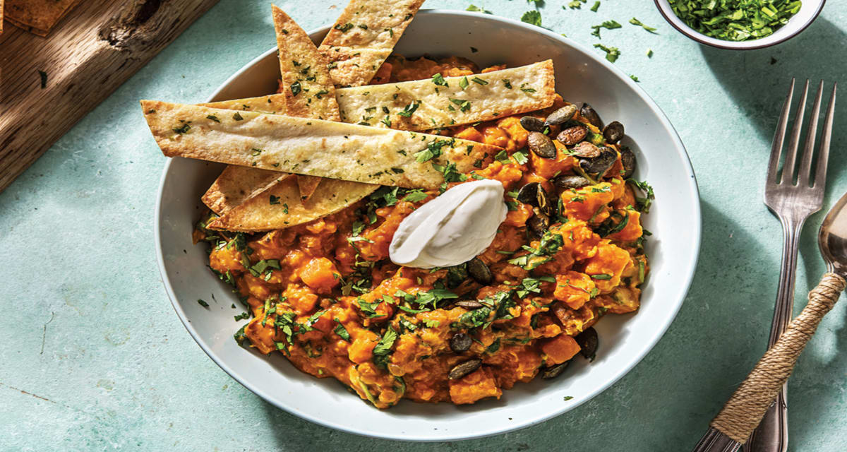 Indian Sweet Potato Coconut Dhal With Coriander Chapati Chips