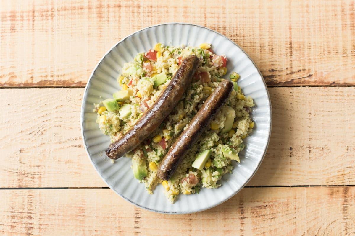 Pikante Lamm-Wurst mit Couscous-Salat