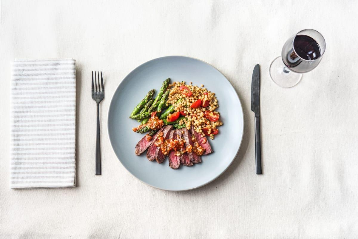 Smoky Romesco New York Strip Steak