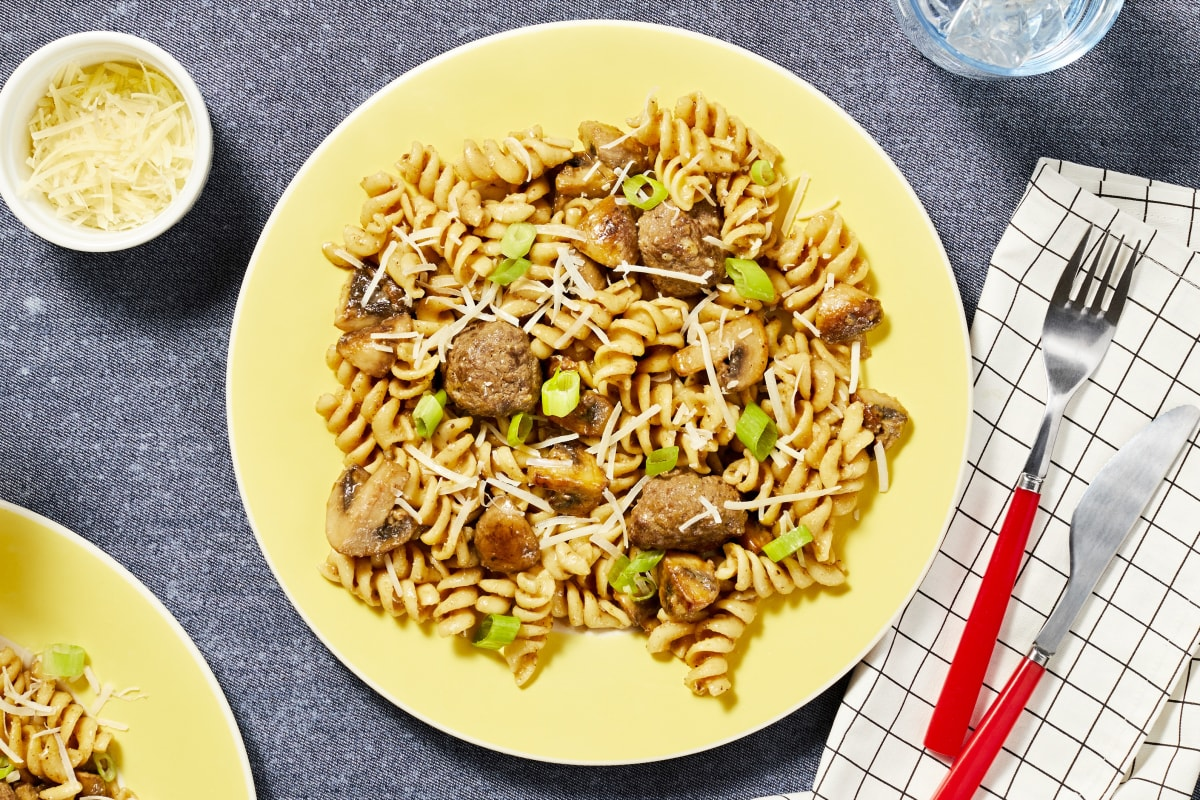 Fusilli with Beef Meatballs