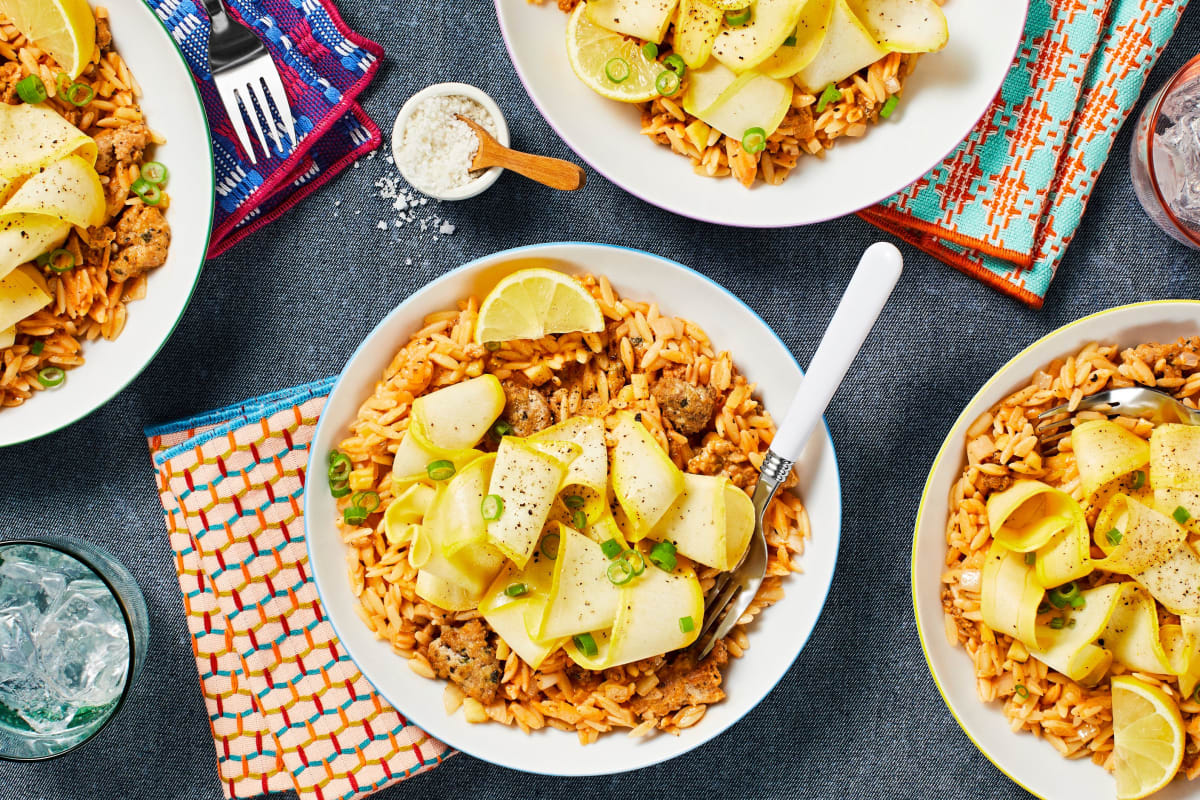 One-Pan Chicken Sausage Orzo
