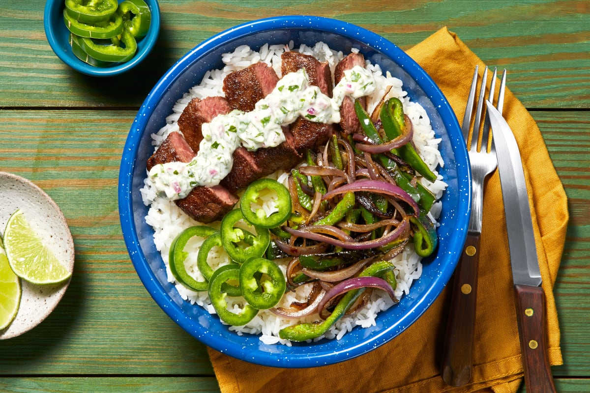 Creamy Cilantro Steak Bowl