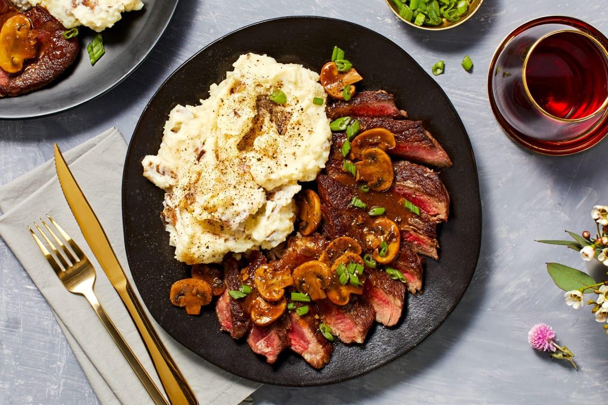 Rib-Eye Steak and Savory Mushroom Sauce