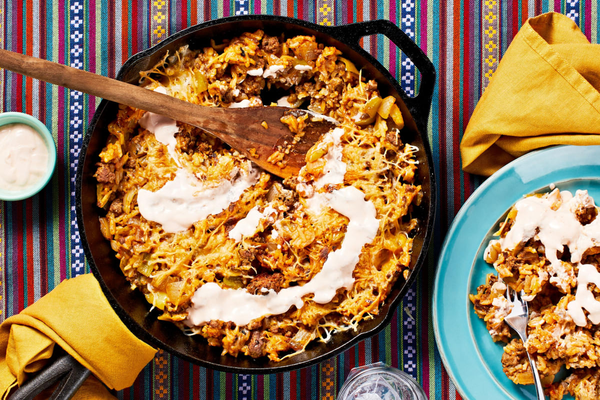 Cheesy Mexican Beef and Rice Skillet
