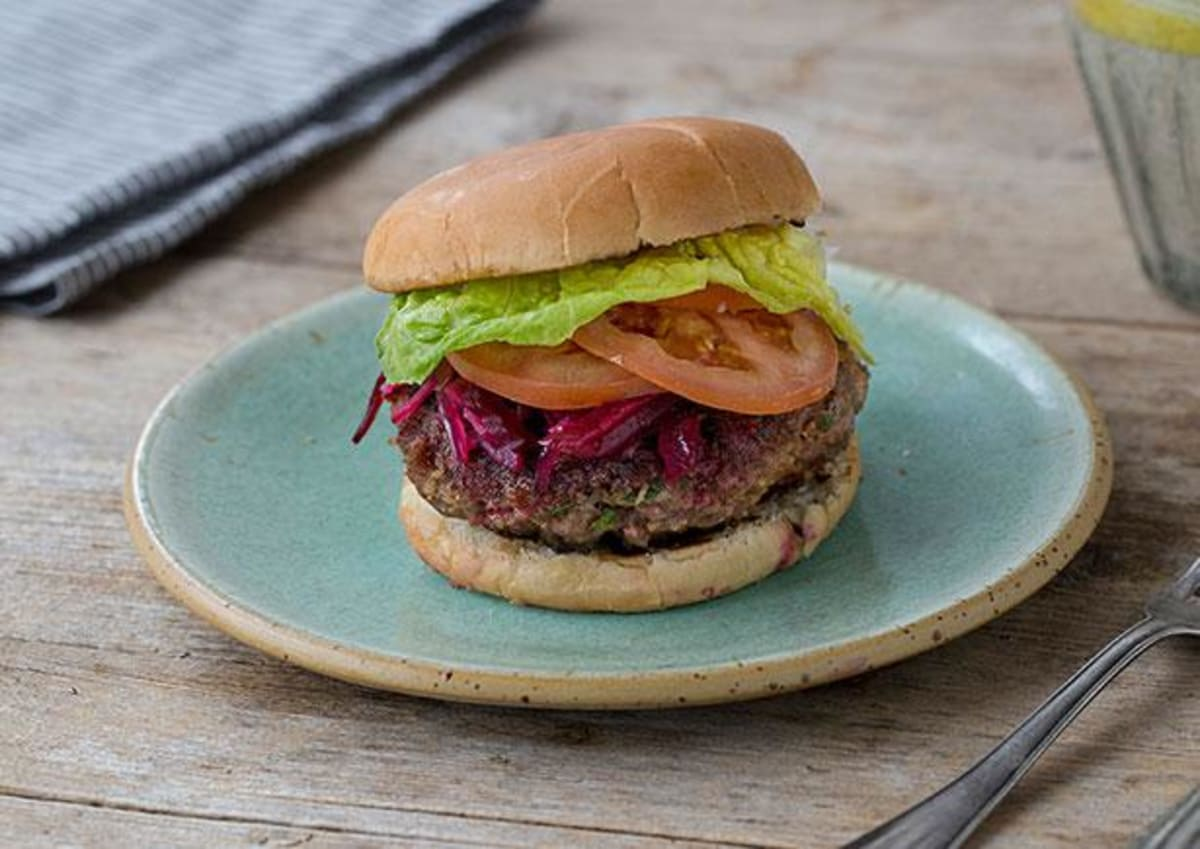 Bucking Beef Burgers with Beetroot Relish