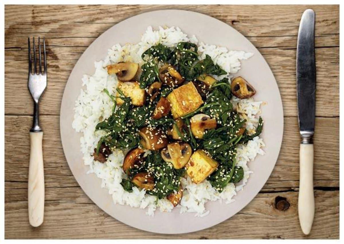 Terriyaki-Ofen-Tofu auf Jasminreis