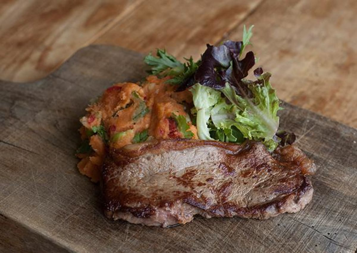 Soy Steak with Sweet Potato Mash
