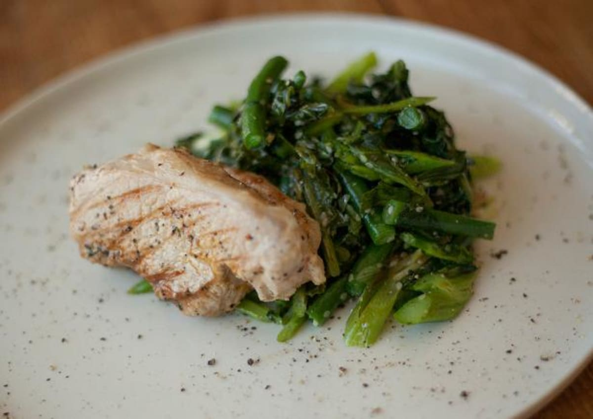 Honey Soy Pork with Asian Greens
