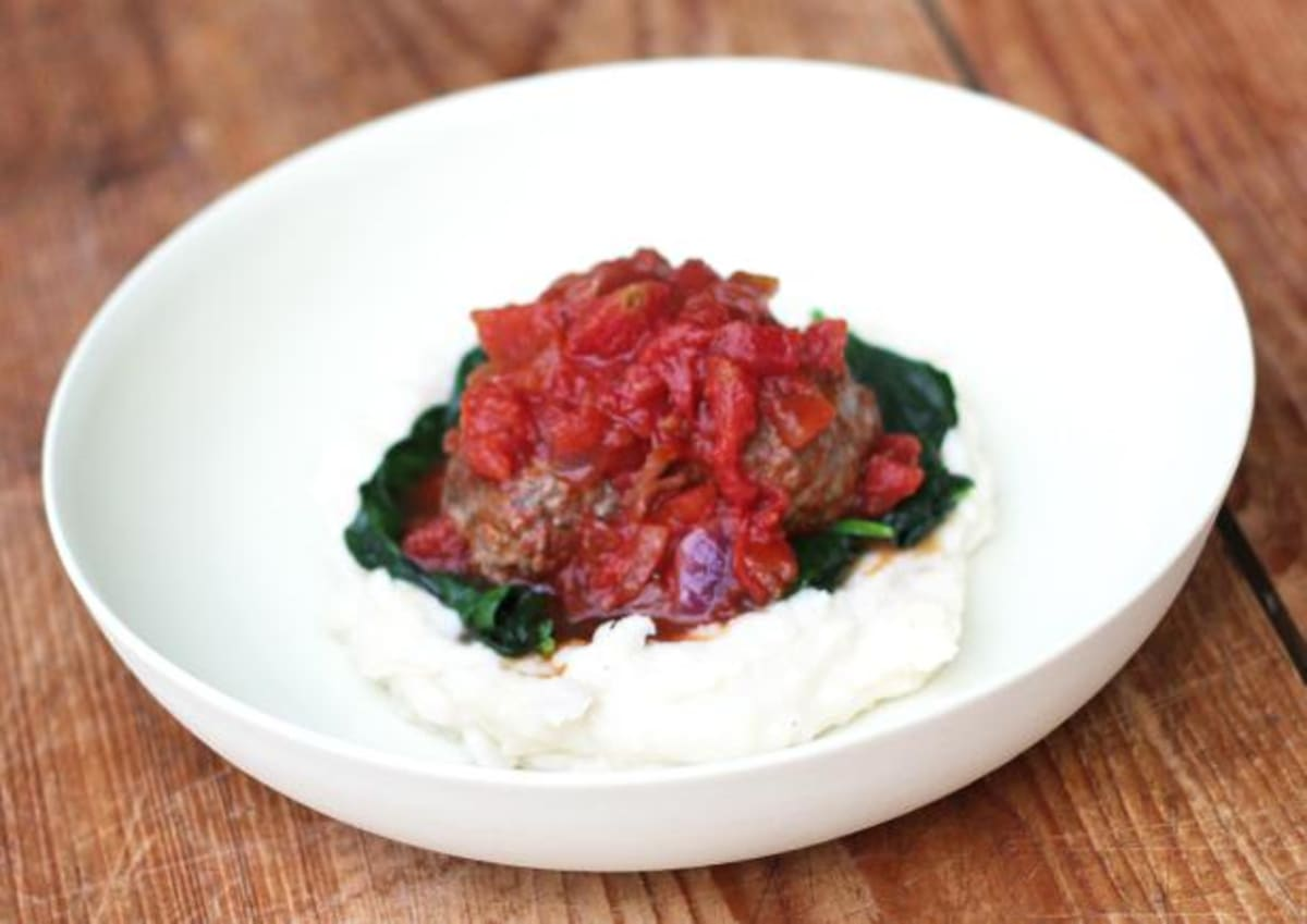 Horseradish & Beetroot Meatballs with Rustic Mash & Wilted Spinach