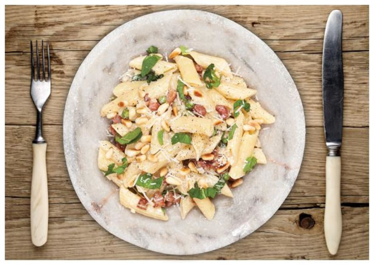Penne with Pancetta, Peas, and Mint