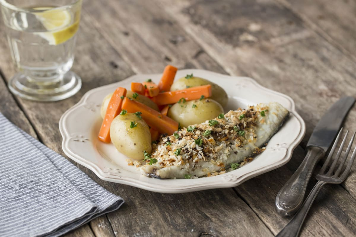 Sea Bream Oreganata with New Potatoes and Carrots