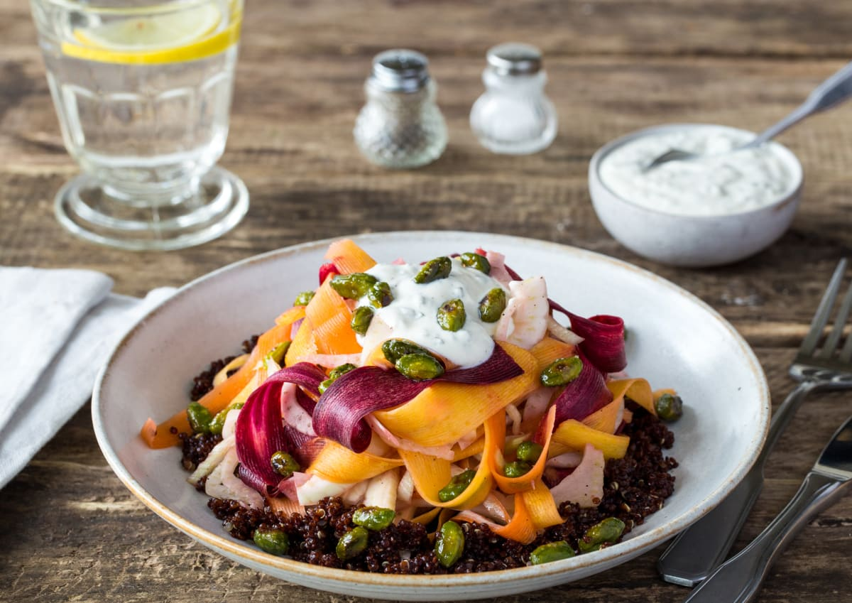 Shaved Vegetable Salad over Red Quinoa