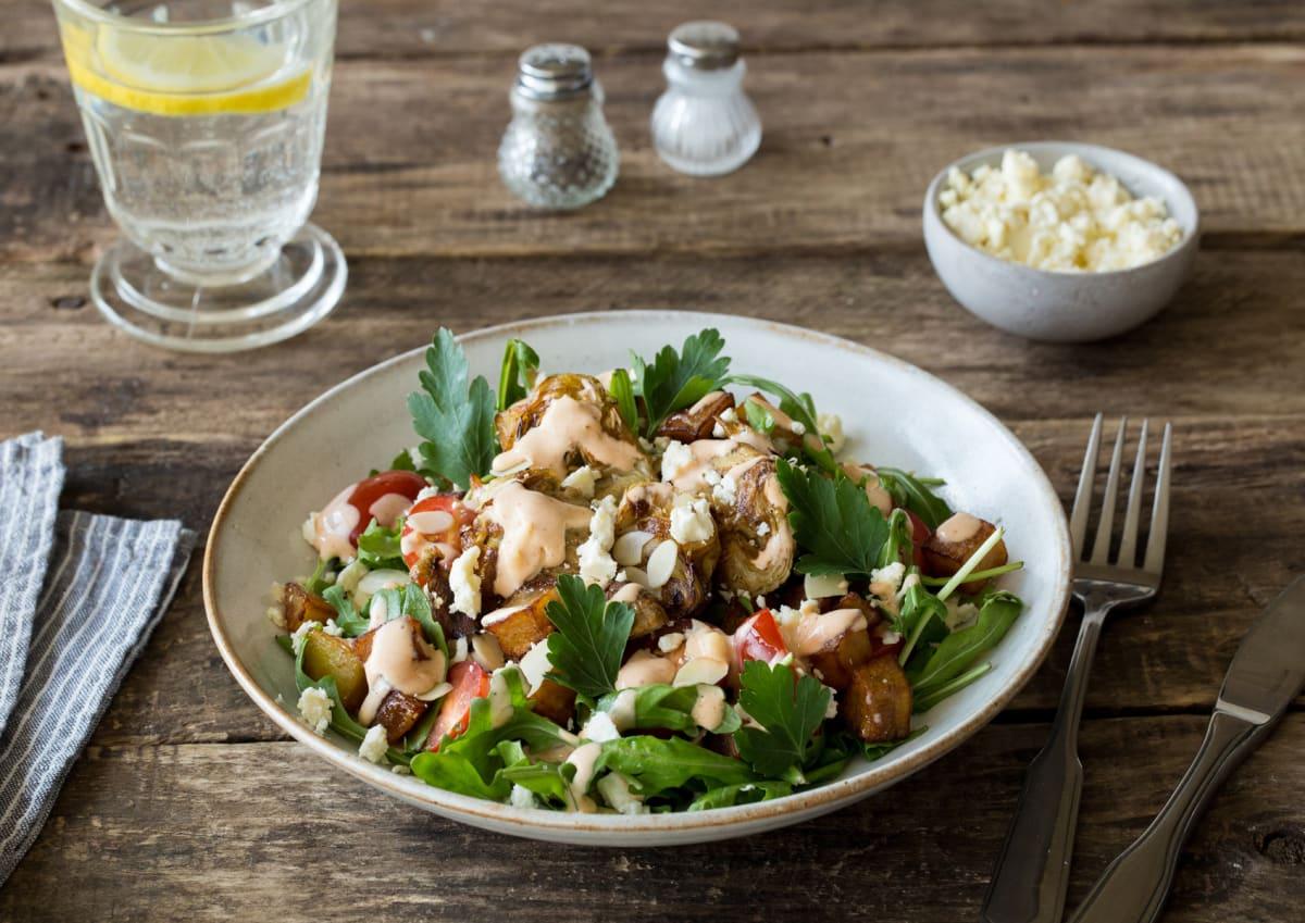 Crispy Artichoke & Patatas Bravas Salad