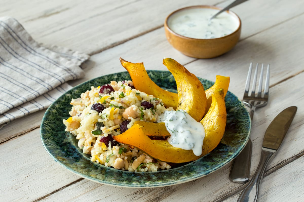 Roast Pumpkin Crescents with Jewelled Couscous
