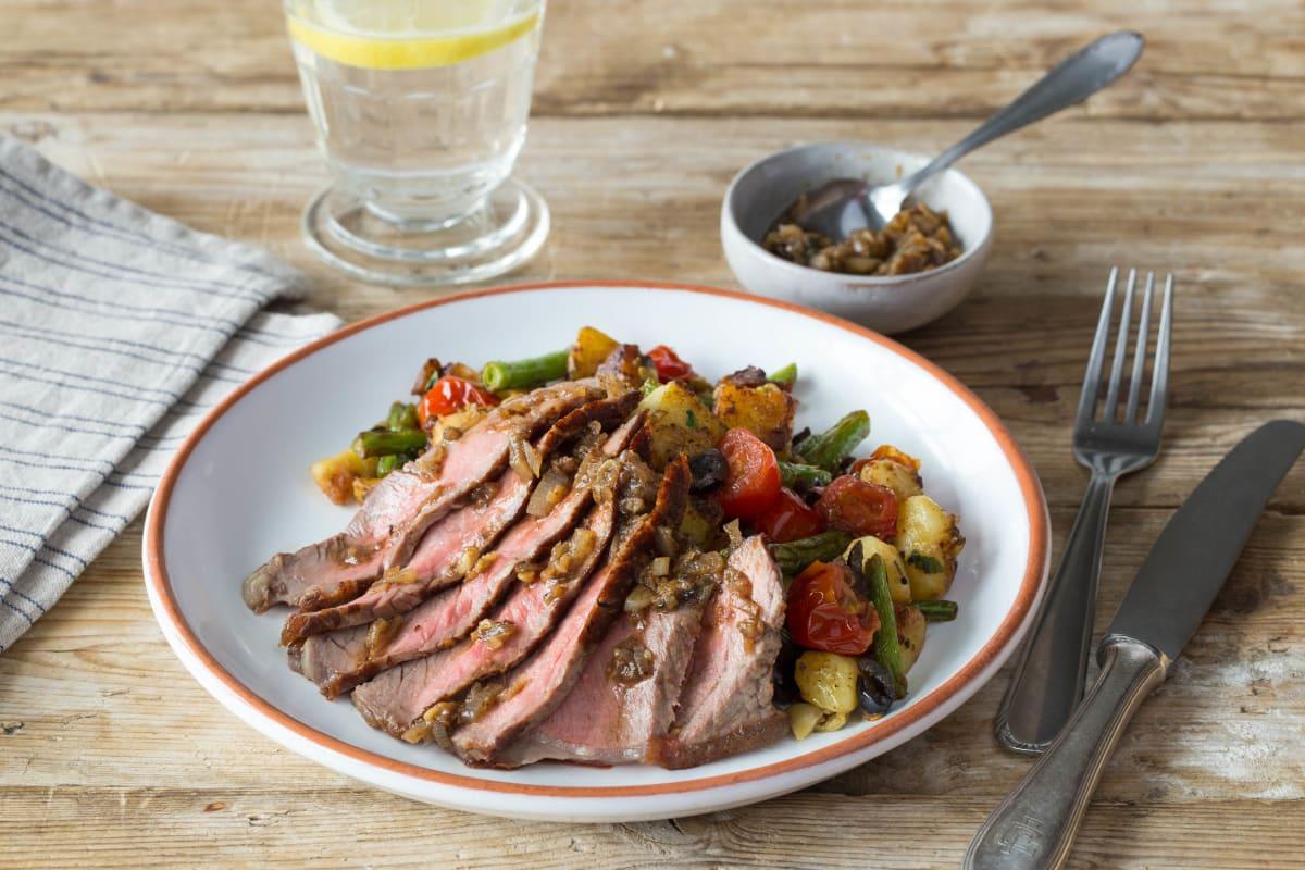 Seared Steak and Crispy Potato Salad
