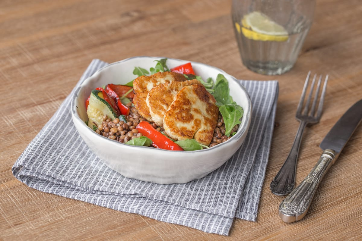 Lentil and Charred Vegetable Halloumi Salad
