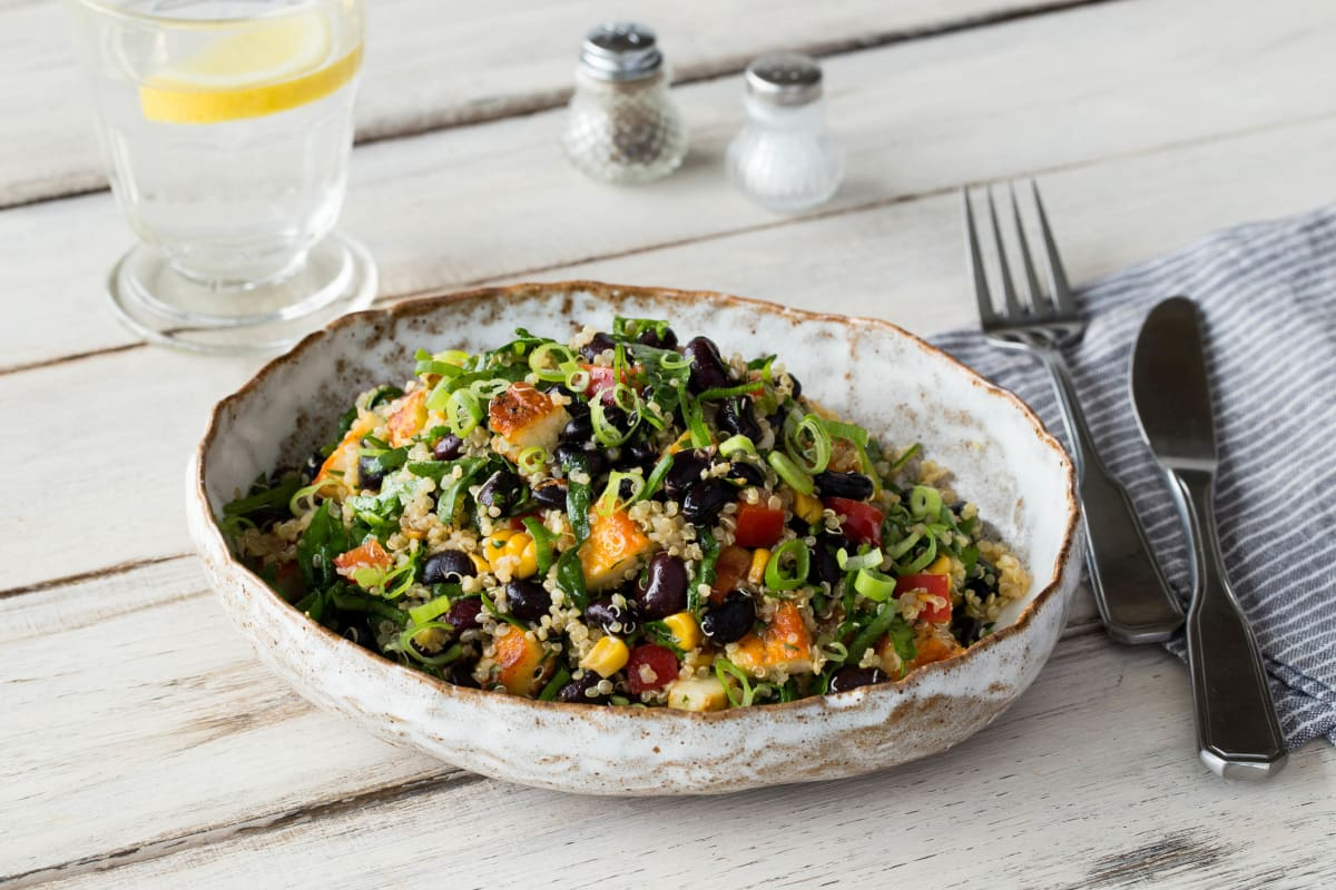 Bodacious Black Bean, Halloumi and Quinoa Salad