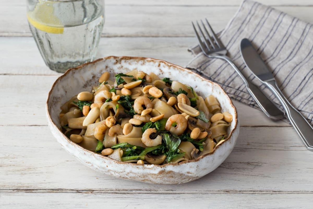 Shrimp Pad See Ew with Broccoli, Mushrooms, and Peanuts