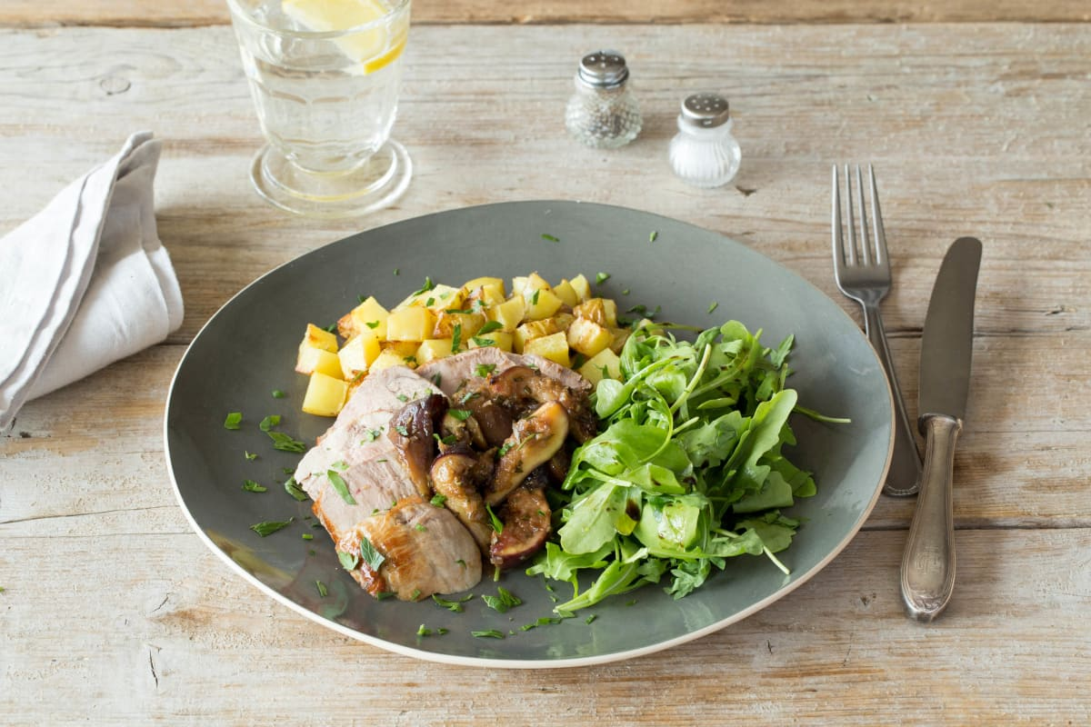Roasted Pork Chops with Balsamic-Fig Sauce, Greens, and Rosemary-Roasted Potatoes