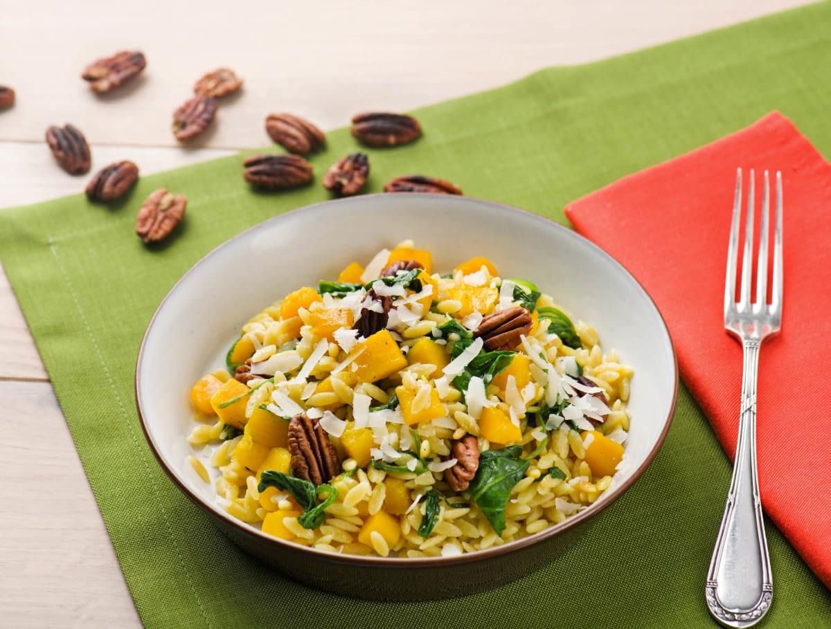 Orzo met pompoen, spinazie en grana padano