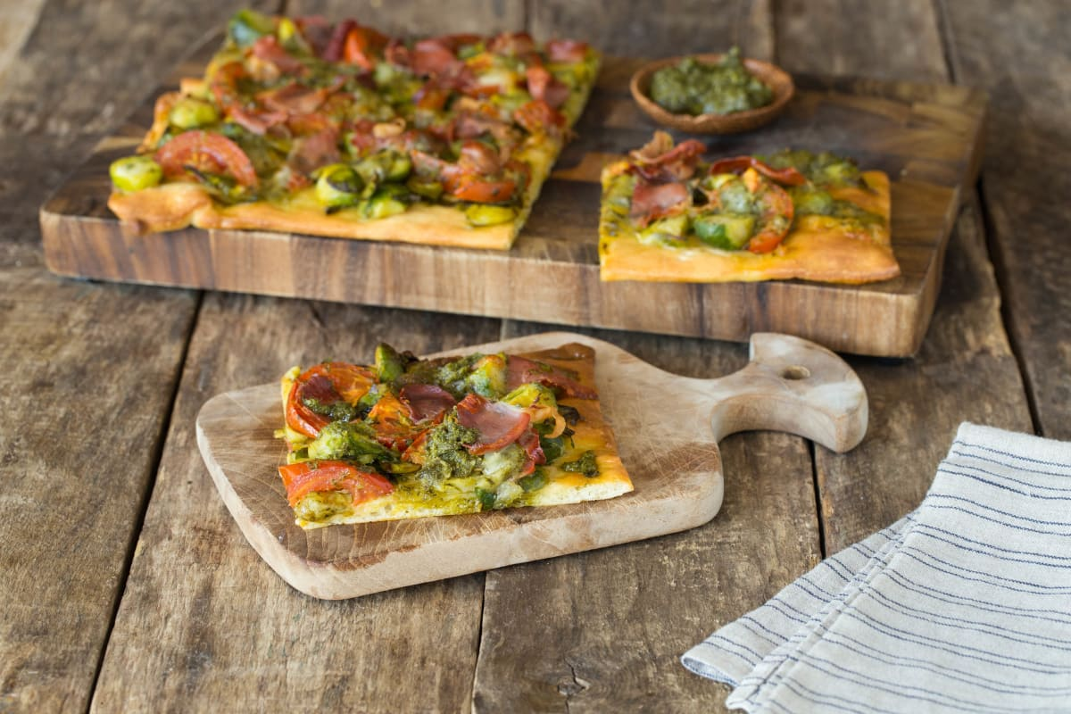 Brussels Sprout & Prosciutto Flatbread with Fresh Pesto and Mozzarella