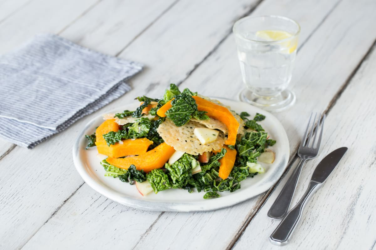 Curry-Roasted Acorn Squash & Kale Salad with Parmesan Frico, Apple, and Honey-Balsamic Vinaigrette