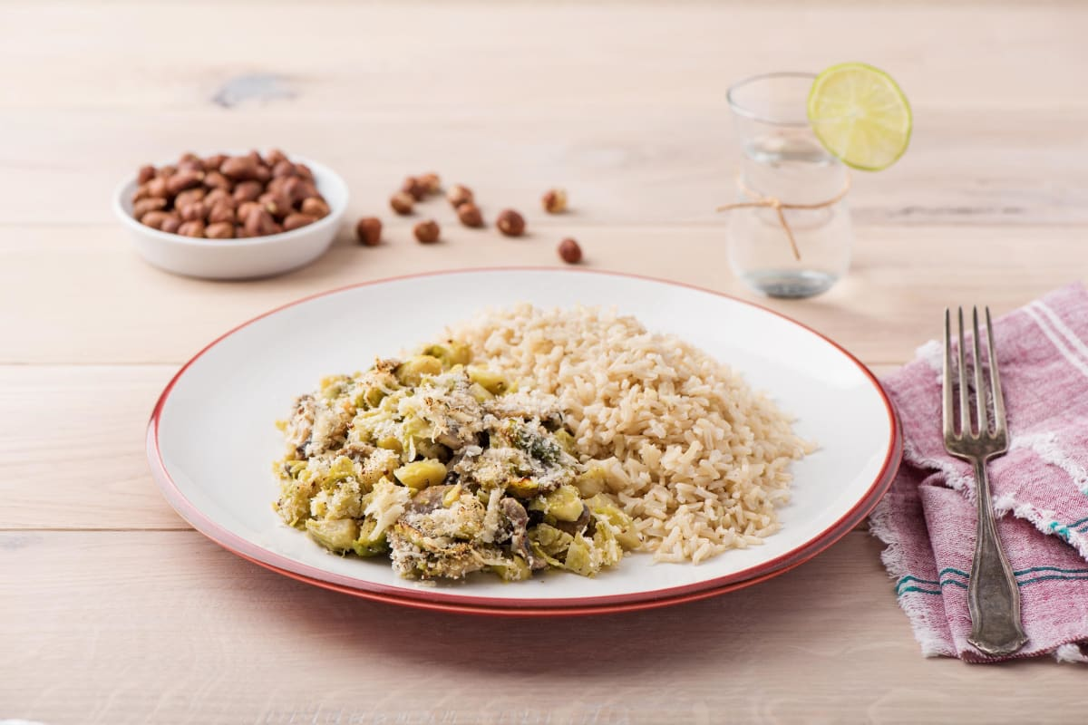 Brussels Sprout Crumble with Mushrooms, Parmesan Breadcrumbs, and Hazelnuts