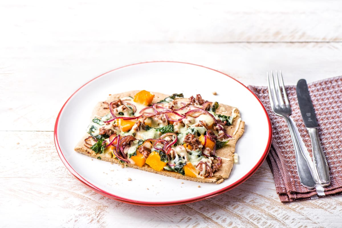 Squash and Kale Flatbread with Sausage, Mozzarella, and Thyme