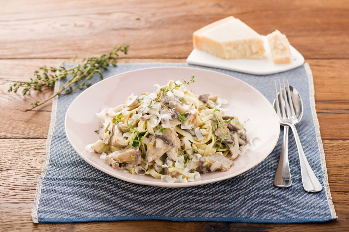 Mushroom and Leek Tagliatelle with Thyme, Garlic, and Parmesan