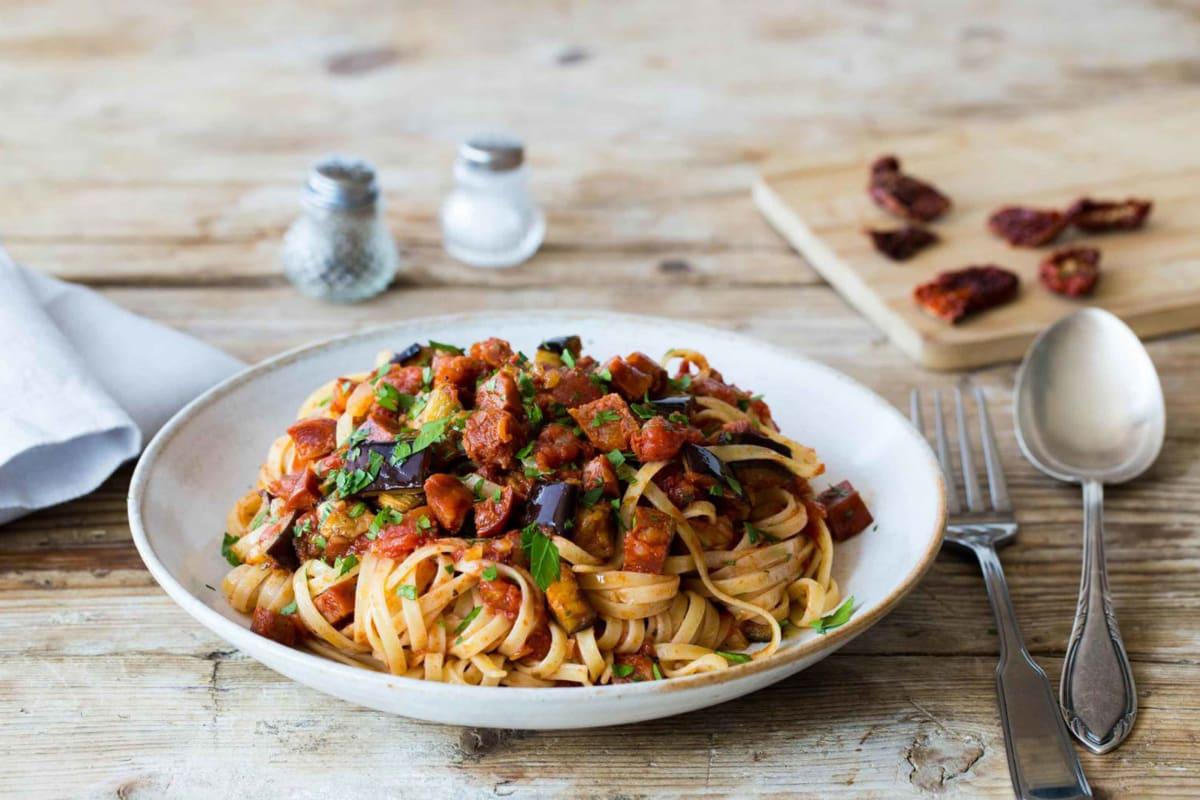 Aubergine, Chilli, Chorizo & Sun-Dried Tomato Linguine