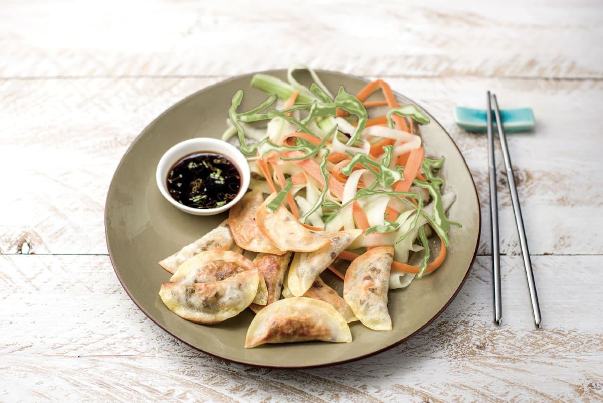Seth's Asian Pork Dumplings with Quick-Pickled Veggie Salad and Soy Dipping Sauce