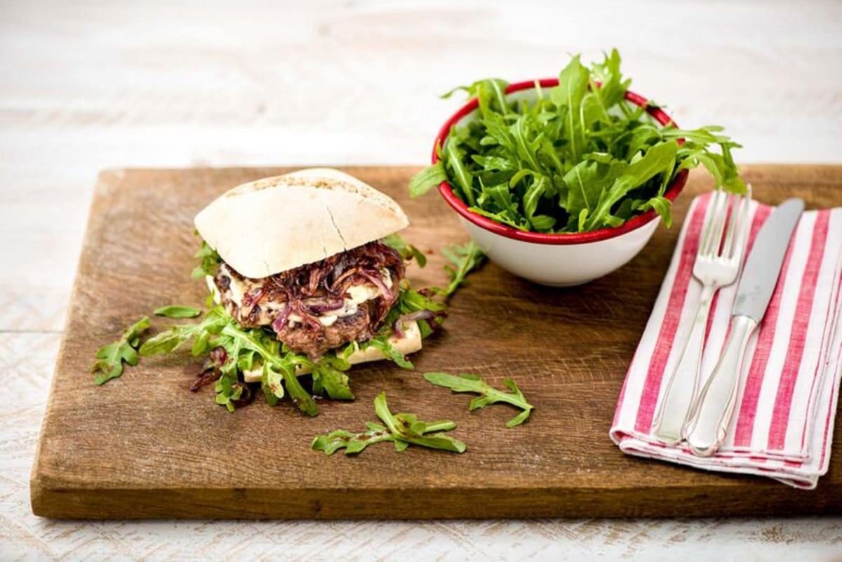 Italian Ciabatta Burgers with Caramelized Onion, Mozzarella, and Sweet-and-Tangy Arugula Salad
