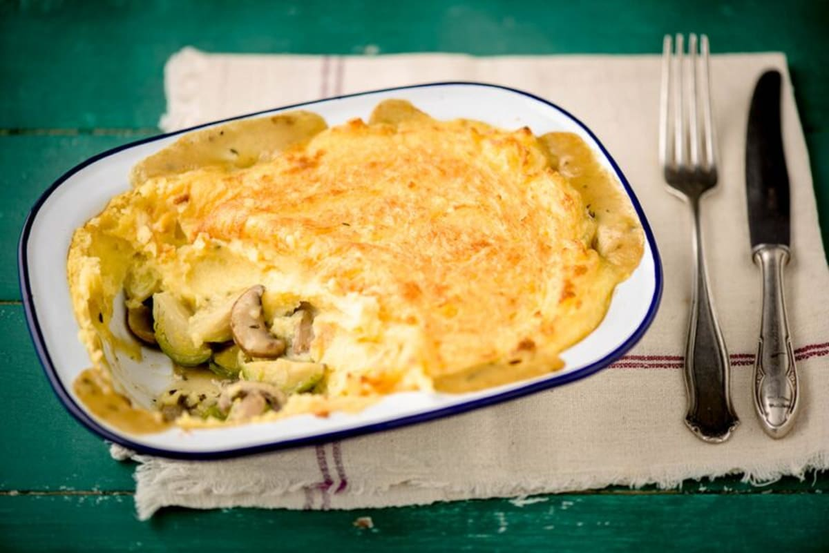 Brussels Sprout and Mushroom Shepherd's Pie with Cheddar Mash