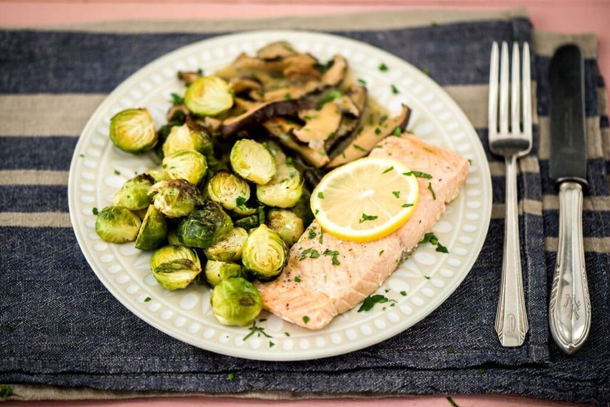 Trout en Papillote with Roasted Brussels Sprouts and Shiitake Mushroom Pan-Sauce