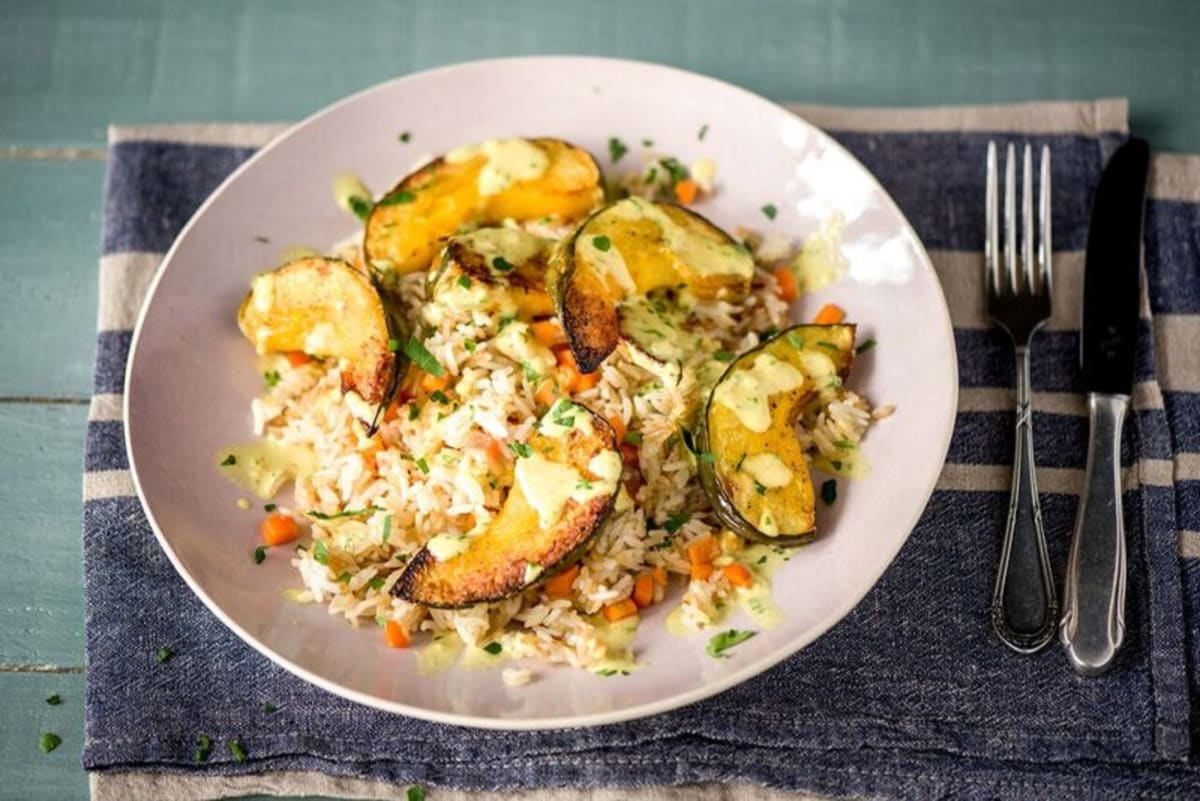 Roasted Acorn Squash & Coconut-Curry Sauce with Gingered Fried Rice