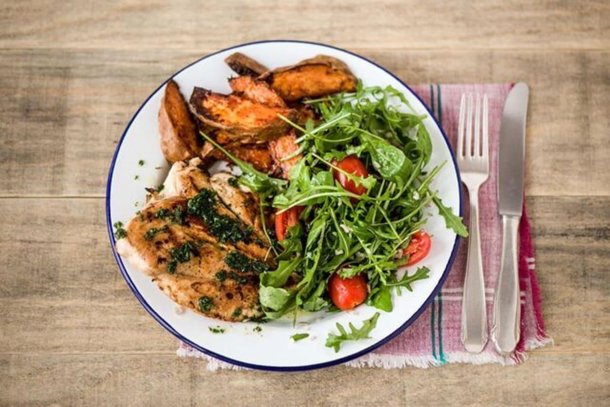 Lemony Chicken Paillard with Sweet Potato Wedges, Arugula Salad, and Chimichurri