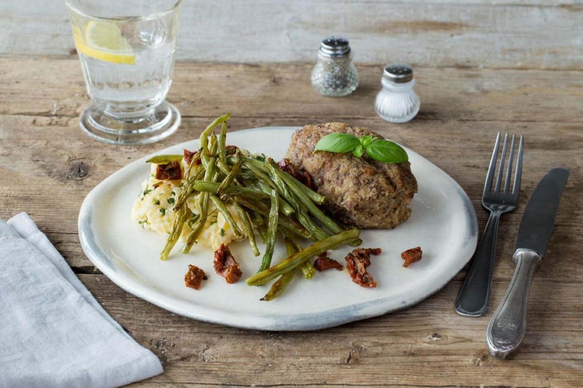 Italian Meatloaf with Sun-Dried Tomatoes, Roasted Green Beans, and Garlic Basil Mashed Potatoes