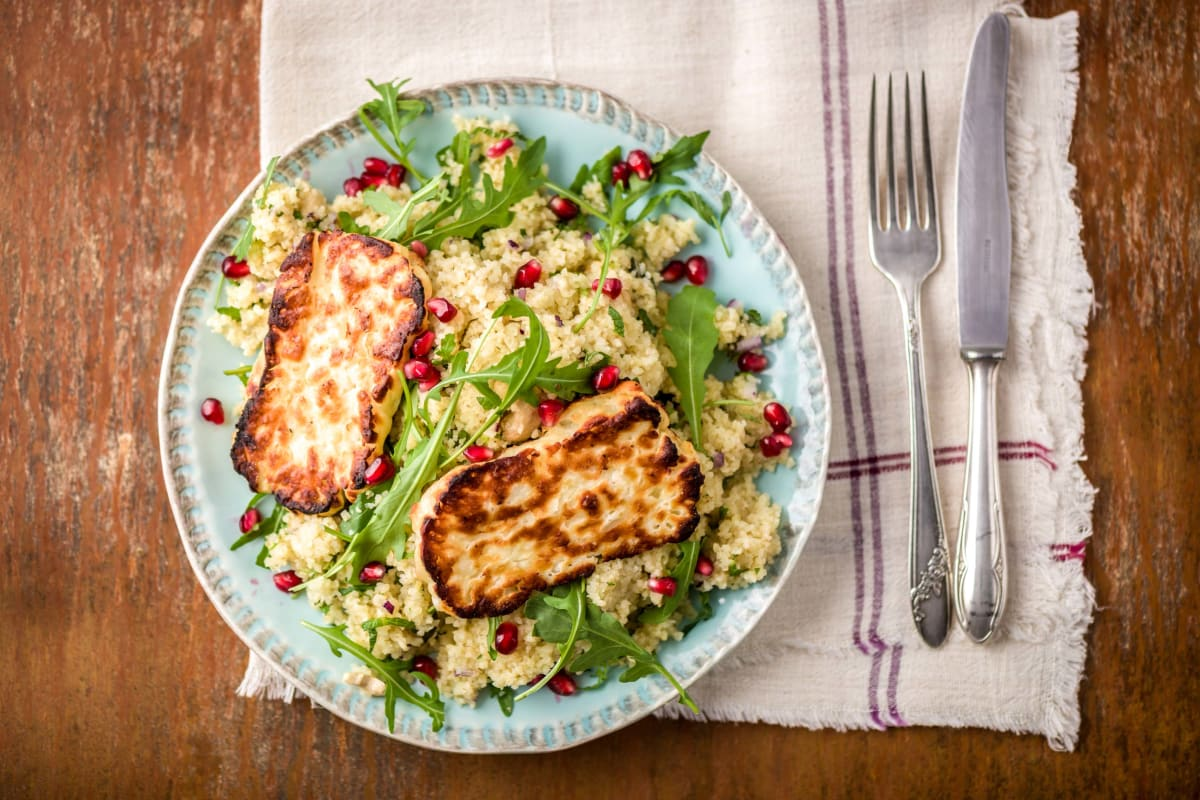 Tabbouleh with Grilled Halloumi and Pomegranate