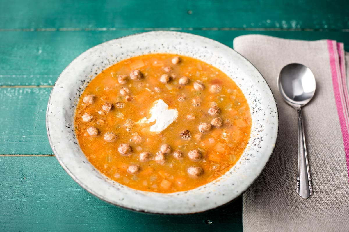 Waad's Tunisian Freekeh Stew with Crispy Chickpeas and Yogurt